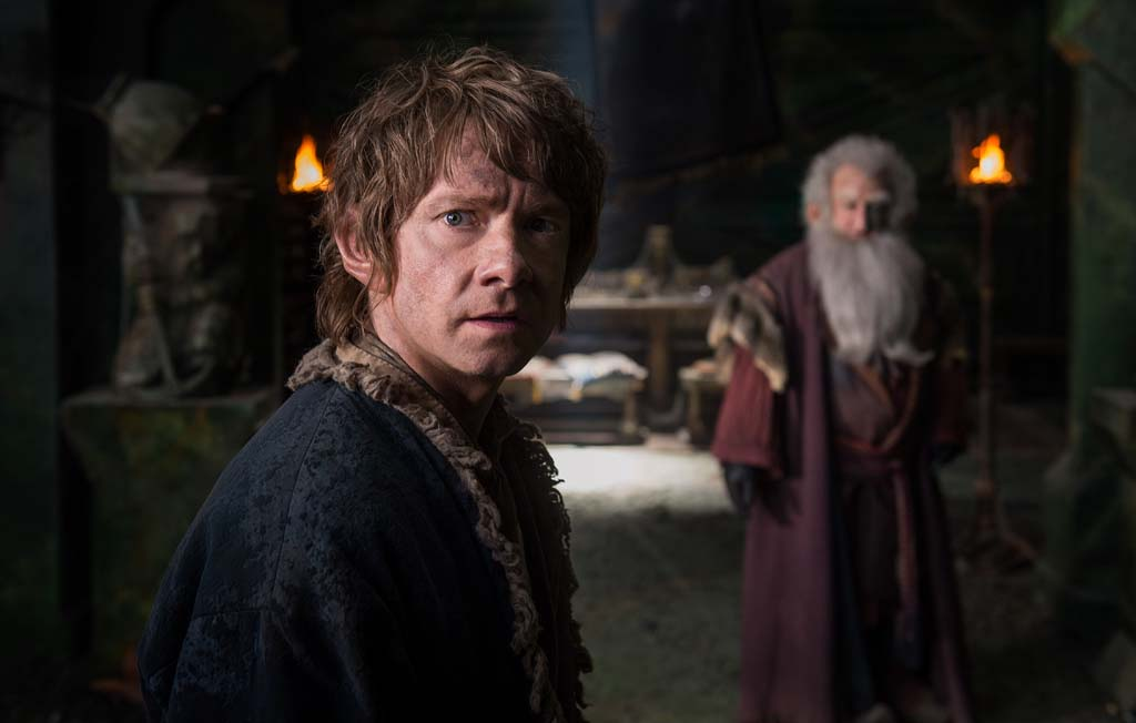"Martin Freeman, left, as Bilbo and Ken Stott as Balin in the fantasy adventure, ""The Hobbit: The Battle of the Five Armies."" Photo by Mark Pokorny"