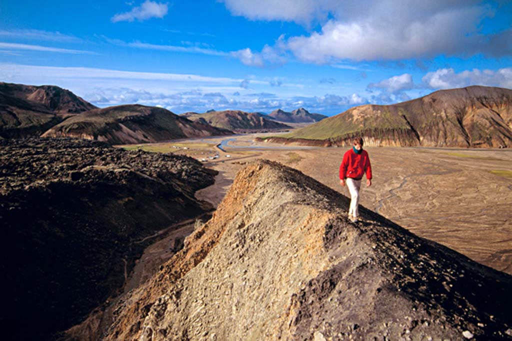 REI offers a nine-day summer hiking trip in Iceland for about $5,000 per person (plus air transportation). Hikers explore lava fields, geysers, glaciers, iceberg-filled lakes and volcanoes. Photo courtesy REI