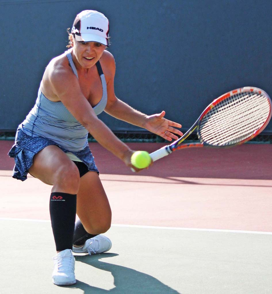 Top-seeded Jennifer Dawson of Carlsbad lost the finals match Dec.7 to third-seeded Dina McBride of Stevenson Ranch, at the USTA National 40 Hard Court Championships at the La Jolla Beach & Tennis Club. Courtesy photo
