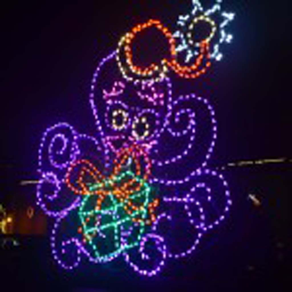 A happy octopus greats visitors who come to the IlluminOcean light display at Dana Point Harbor. Courtesty photo