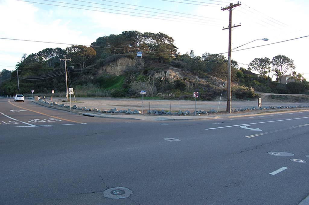 A proposed roundabout at the intersection of Jimmy Durante Boulevard and San Dieguito Drive is removed from a citywide sidewalk improvement project, but it is still being considered as a means to slow traffic in the area. Photo by Bianca Kaplanek