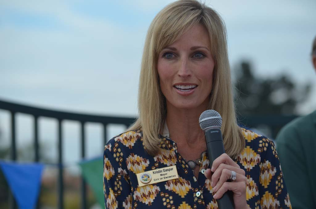 Mayor Kristin Gaspar leads the grand opening ceremonies for the Encinitas Community Park on Saturday. Photo by Tony Cagala