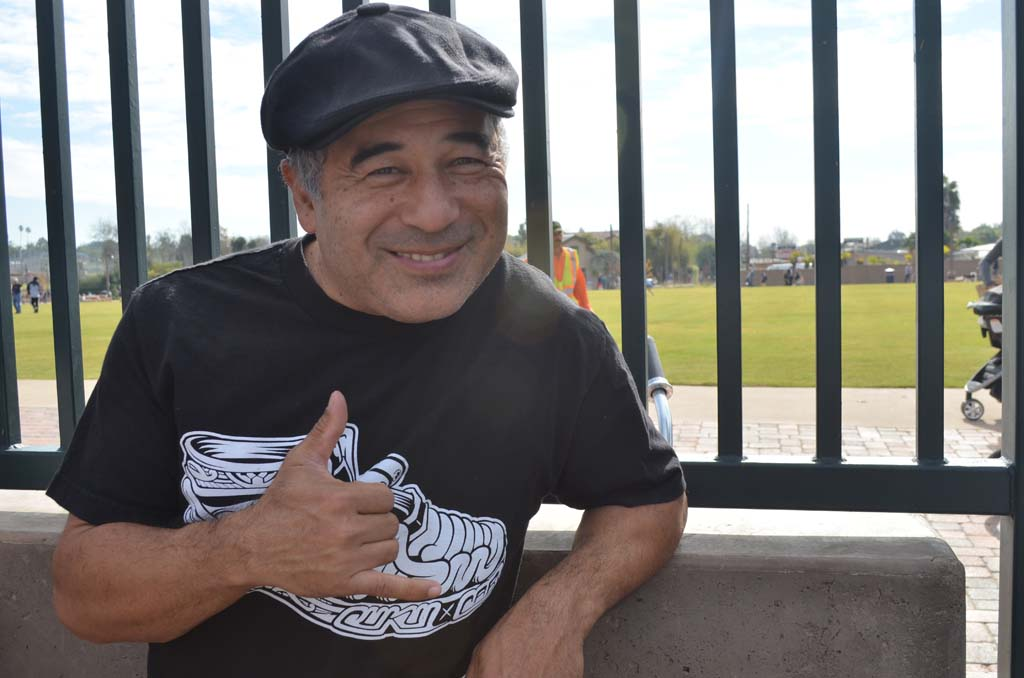Pro skater Steve Caballero represents at the new skate park on Saturday. Photo by Tony Cagala