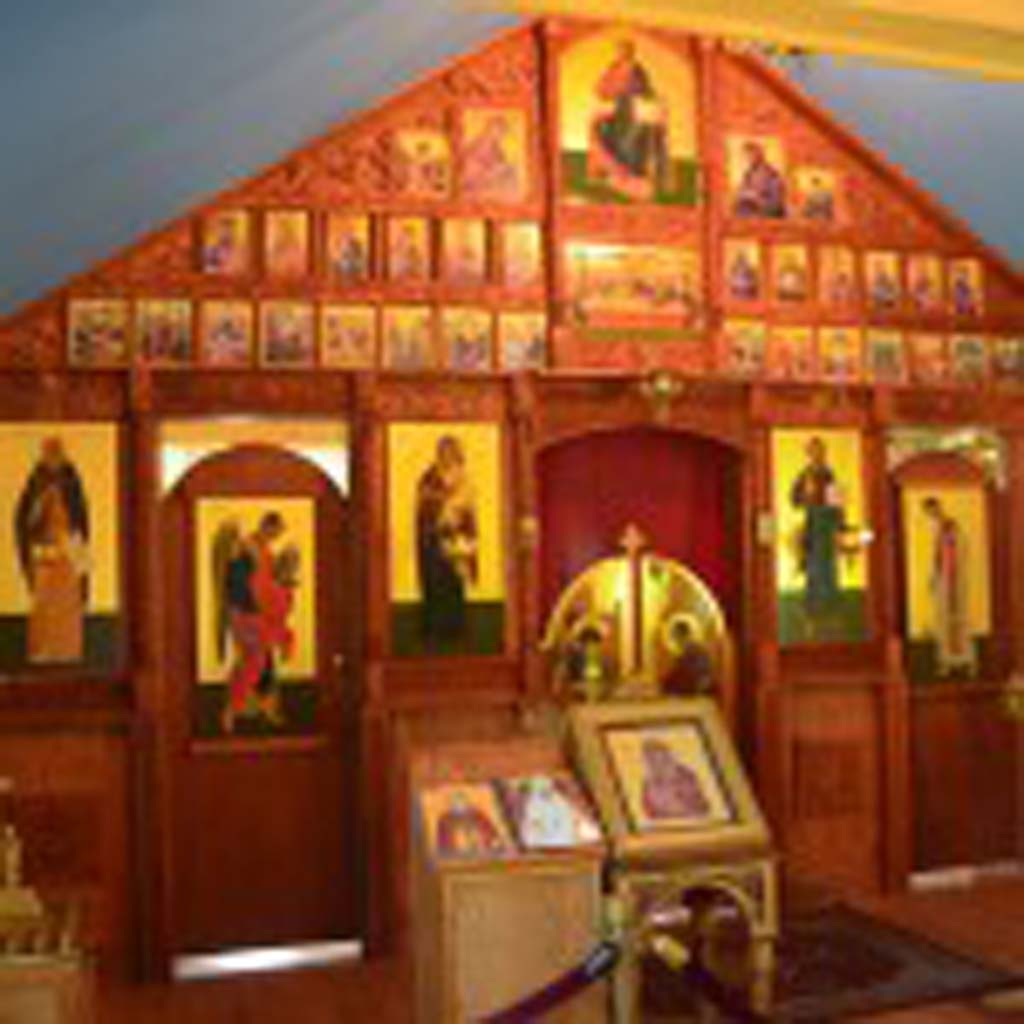 The interior of the new St. Nicholas Church on the grounds of the Eklutna Village Historic Park is replete with Russian icons. Painted on wood, they are said to be a mixture of Russian stylization and Western European realism.