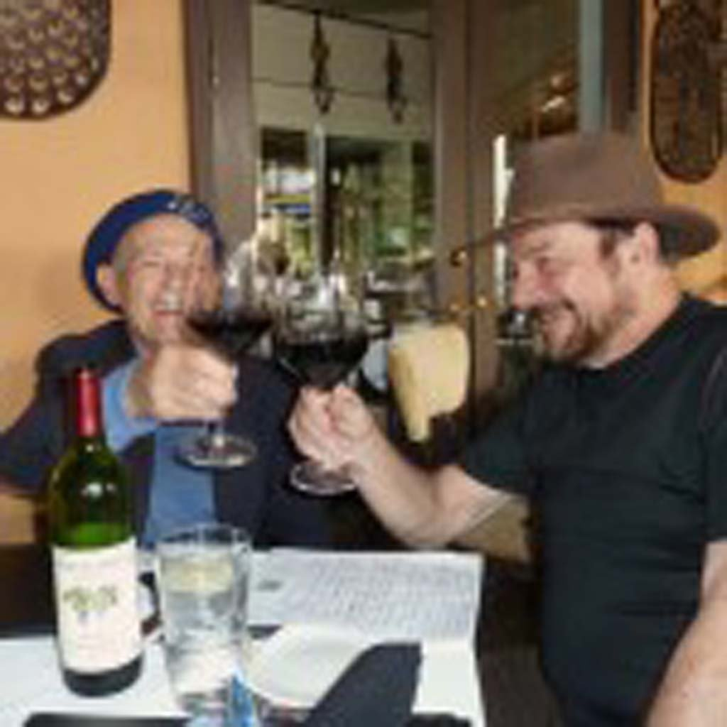 World Famous winemaker Mike Grgich with TASTE OF WINE columnist Frank Mangio,toasting with a 2011 Grgich Zinfandel. Photo courtesy Frank Mangio