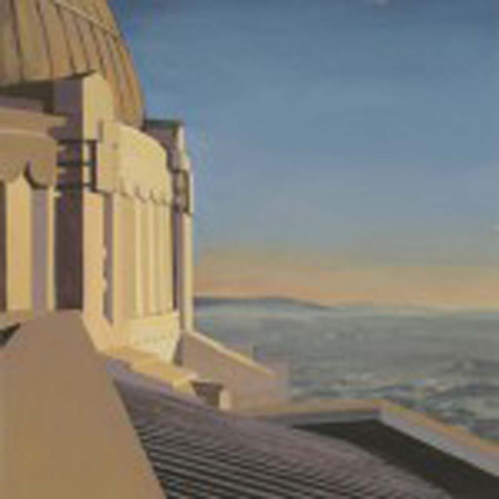 "On a clear day, you can't beat the view from the Griffith Observatory. You can see the entire Los Angeles Basin, as well as the iconic Hollywood sign. But in 2007, when Thomason painted this picture, about 30 fires were raging in Southern California, and the grand view was obscured. ""(The observatory) has been modernized and upgraded over the decades, but it still has a bit of Flash Gordon about it,"" Thomason says."