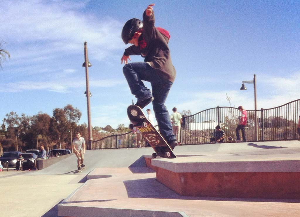 Trevor Jeffrey, 8, skateboards at the Encinitas Community Park. On Jan. 10, the city will have an official grand opening ceremony beginning at 10 a.m. Courtesy photo