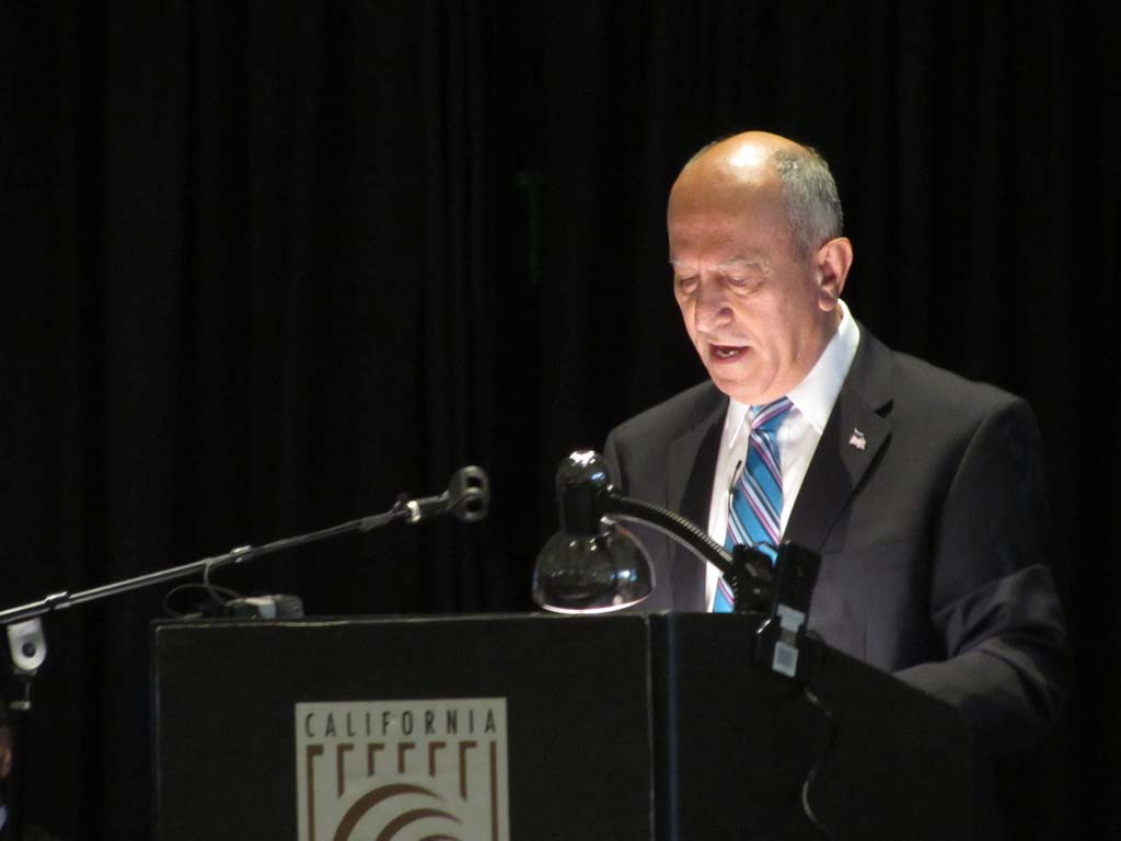 Mayor Sam Abed gives his annual State of the City address to hundreds of local community leaders, business owners and residents on Feb. 25 at the California Center for the Arts. Photo by Ellen Wright