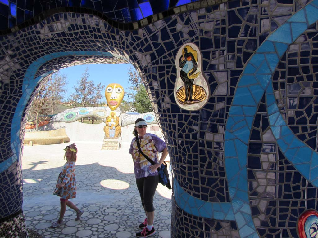 "Underneath ""The Eagle"" is a rich blue celestial mosaic. Visitors explored the under belly of ""The Eagle"" and were given a quick reprieve from the heat. Photo by Ellen Wright"
