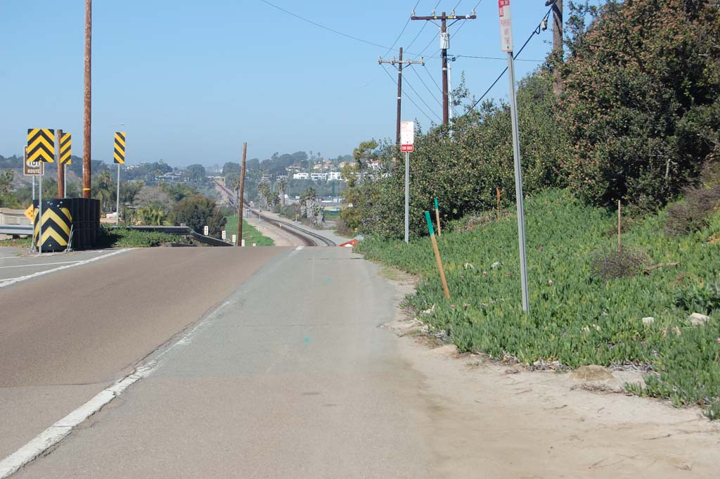 Work to upgrade the street, sidewalks and drainage along an approximately three-quarter-mile stretch of Jimmy Durante Boulevard and Camino del Mar is slated to begin the week of Feb. 16. Photo by Bianca Kaplanek