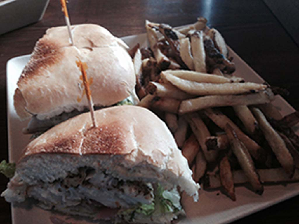 The Red Snapper sandwich and hand-cut fries at Encinitas Fish Shop. Photo by David Boylan
