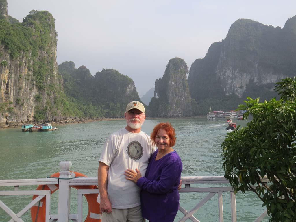 Vita residents Tom and Carolyn Robertson enjoy a ride on a traditional Vietnamese junk in Ha Long Bay, Vietnam. Courtesy photo