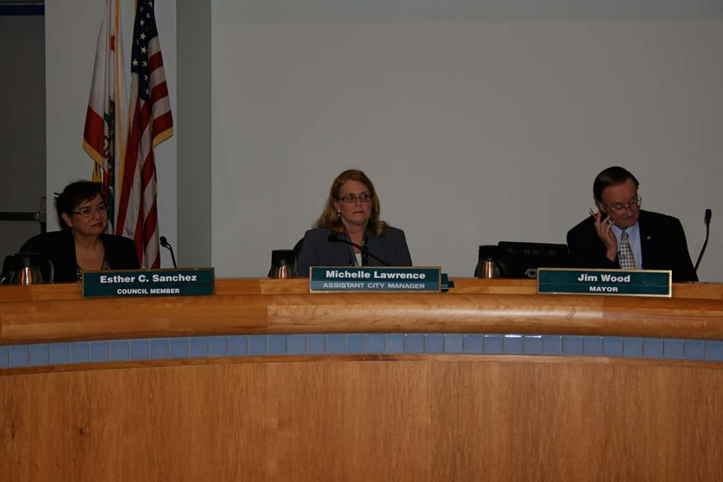 Deputy City Manager Michelle Skaggs Lawrence, center, takes the seat as interim city manager following Steve Jepsen's resignation during closed session on Wednesday night. Oceanside will begin a nationwide search for a new hire. Photo by Promise Yee