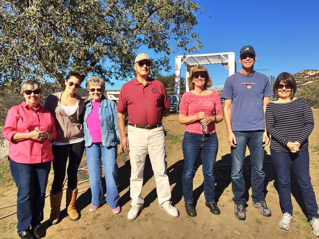 From left, Del Mar-Solana Beach Rotary members and spouses, Suzanne Sutton, Radia Bencheikh, Lou and George Sousa, Susan and Mark Hennenfent, and Ellen Griffin, visit the new Pegasus Rising facilities near Lake Wohlford. Courtesy photo