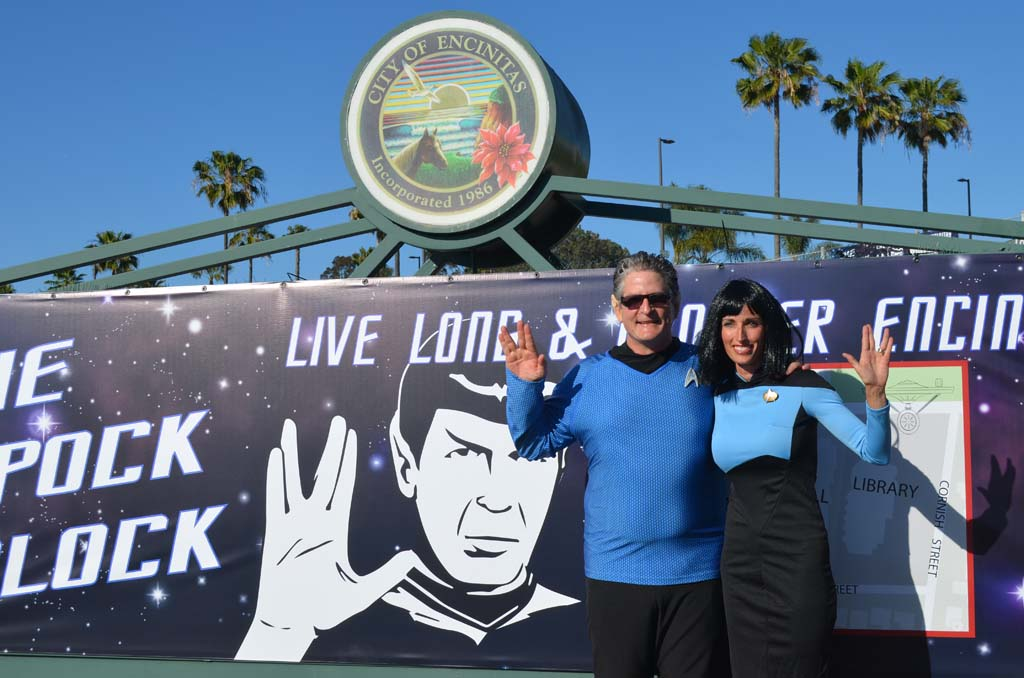 "Encinitas Councilman Tony Kranz and Encinitas Mayor Kristin Gaspar don their best ""Star Trek"" outfits in front of City Hall on Thursday for the proclamation of Spock Block week. Photo by Tony Cagala"