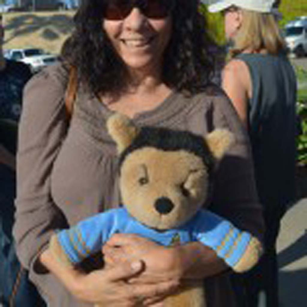 Marcia Mercurio with her stuffed Spock teddy bear at the proclamation event for Spock Block on Vulcan Avenue in Encinitas. Photo by Tony Cagala