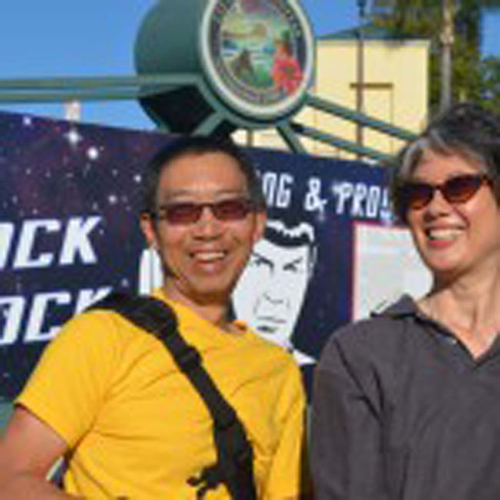 Jim Wang and Patricia Williams turn out for the Spock Block proclamation on Thursday. Photo by Tony Cagala