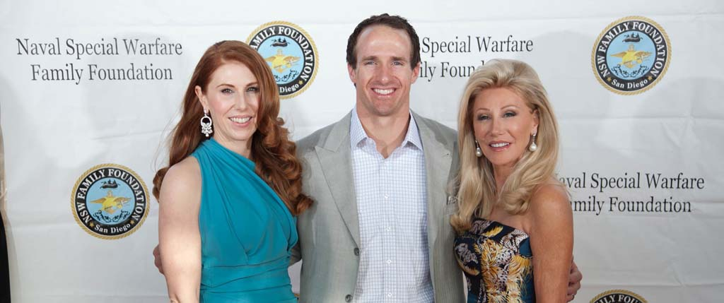 Dominique Plewes, left, Drew Brees and Madeleine Pickens at last year's gala supporting the SEAL-NSW Family Foundation. Courtesy photo