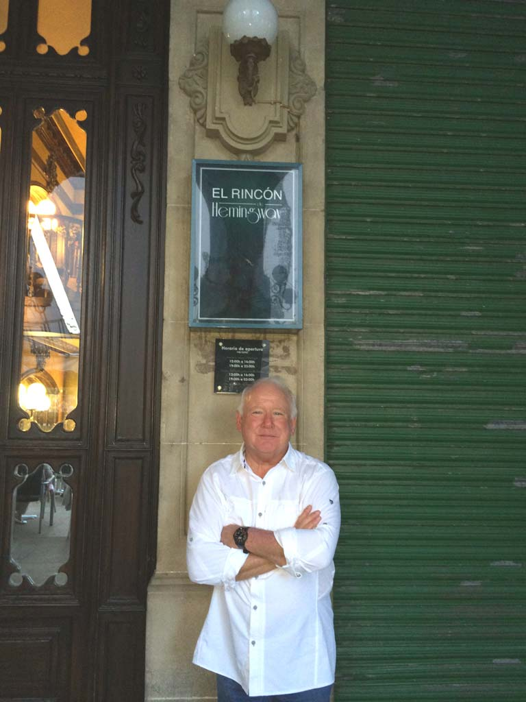 "Tim O'Shea of San Marcos takes a breather in front of Café Iruna in a plaza in Pamplona, Spain, ""a stunning city with great restaurants and food,"" he says. ""The homes here, as in much of Europe, are small, so people spend a lot of time in the plazas."""