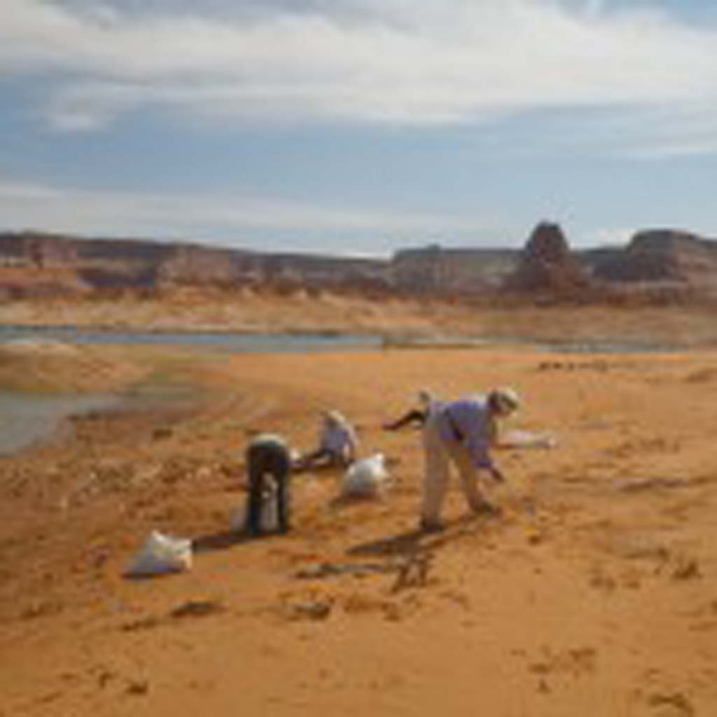 Volunteers pick up trash in 2014 at Padre Bay on Lake Powell, in the Glen Canyon National Recreation Area.