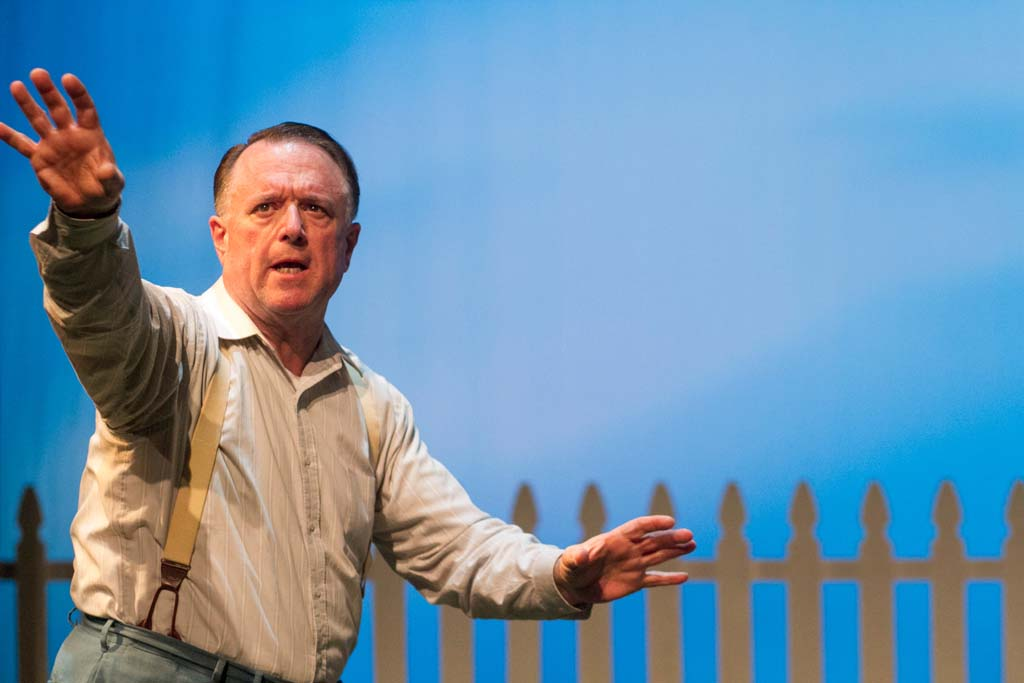"""Tom Stephenson appearing in the Intrepid Shakespeare Company's 2014 production of """"All My Sons."""" The theater company, which currently hosts its performances at the San Marcos High School Performing Arts Center, is proposing to build a theater on the city-owned 0.7-acre parcel in the Town Center of Encinitas Ranch. Photo by Daren Scott"""