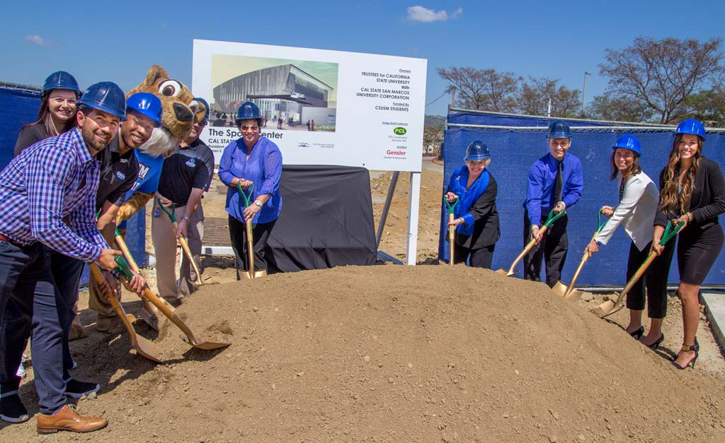 Cal State University San Marcos officials make the ceremonial groundbreaking on their new sports complex this week. Photo courtesy Cal State San Marcos