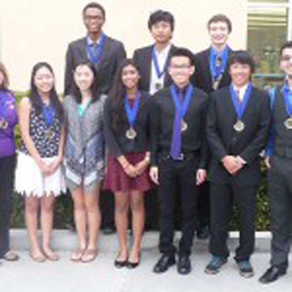 Carlsbad High School is the North County Academic League's Coast Division Varsity Champion for the 2015 season. The champion Lancers are, from left, front row, Coach Lori Peacock, Julie Ambo, Erica Weng, Samiksha Ramesh, William Zheng, Gary Luo, and Barsegh Ererekyan, with back row, Alex Orimoloye, Eric Yu and Joseph Melkonian.