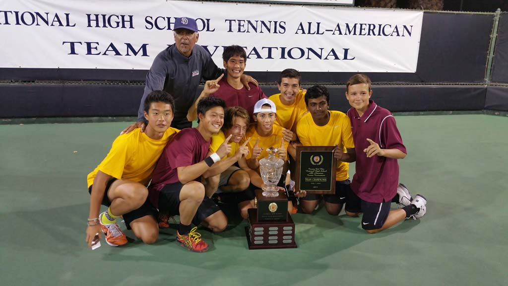 The Torrey Pines High School tennis team wins the National High School Tennis All-American Team Invitational, a three-day tournament held March 20 through 22 at Palisades Tennis Club in Newport Beach. The team includes Coach John Delille and players Jiayong Li, Max Liu, Charles Pei, Jacob Brumm, Raul De La Torre, Daniel De La Torre, Sreeganesh Manoharan and Alex Scemanenco. Courtesy photo