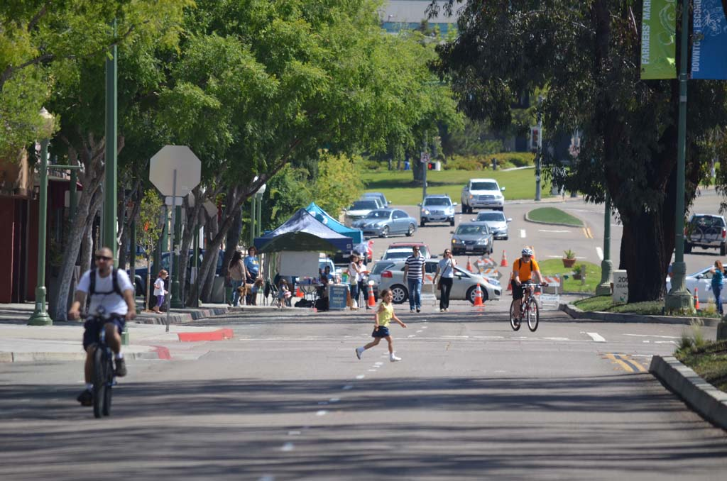 People don't need to look both ways while trying to cross the street on Saturday during CicloviaEscondido. Photo by Tony Cagala