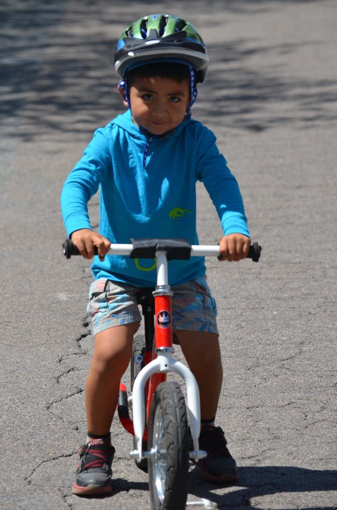 Jacob Sanchez, 4, is ready to ride. Photo by Tony Cagala