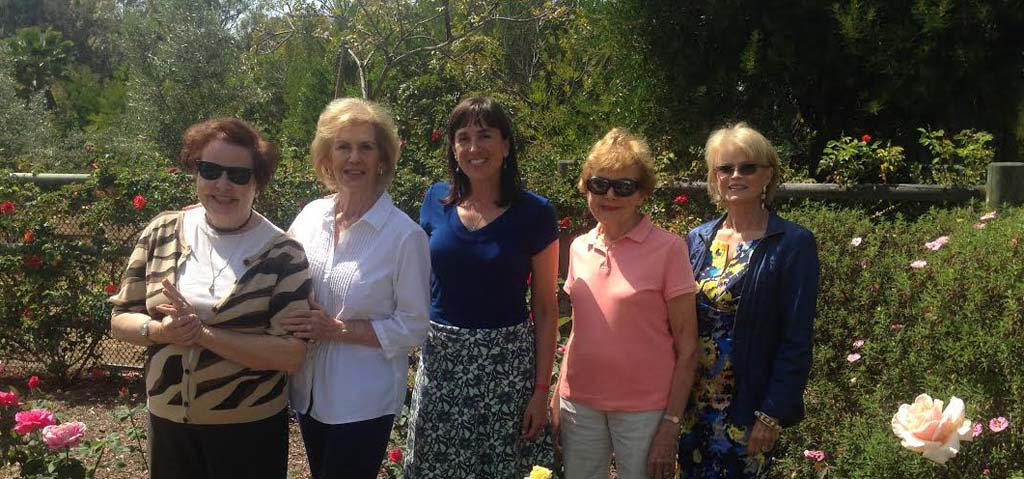 From left: Pam Wasserman, MaryAnn Smith, Anne Rogers, Laverne Schlosser, and Susan Glass of the Rancho Santa Fe Garden Club. The club is inviting groups to apply for grants now through May 1. Photo by Christina Macone-Greene