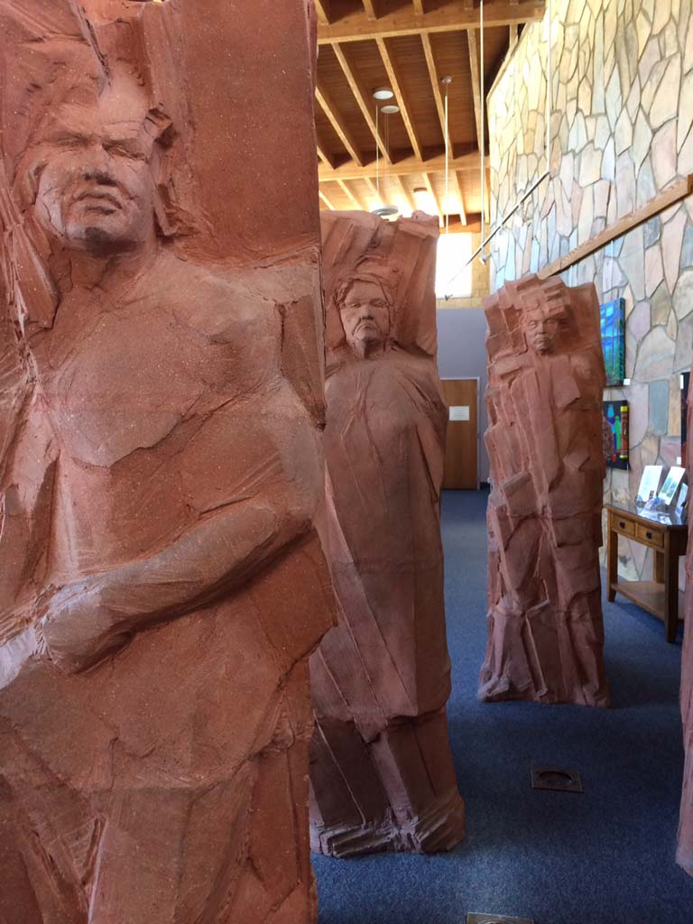 These larger-than-life sculptures of Kumeyaay Indians remind visitors at Mission Trails Regional Park in EastCounty that the land once belonged to these Native Americans. Evidence of their society and culture go back as far as 12,000 years. Today, the Kumeyaay live on 13 reservations in San Diego County.  Photos by E'Louise Ondash