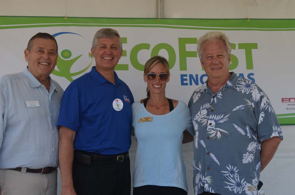 From left: Jim Farley of the Leichtag Foundation, County Supervisor Dave Roberts, Encinitas Mayor Kristin Gaspar and Dave Ahlgren of the EcoFest. Photo by Tony Cagala
