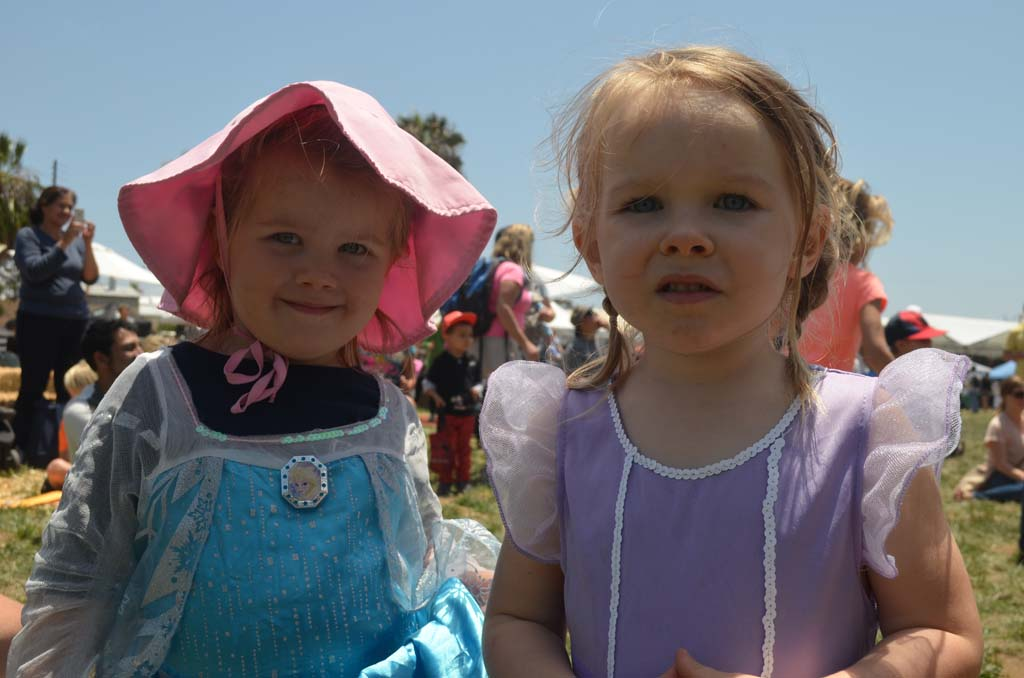 Nixon Roesink, left, with Ember Meyer in their best costumes for the EcoFest costume parade. Photo by Tony Cagala