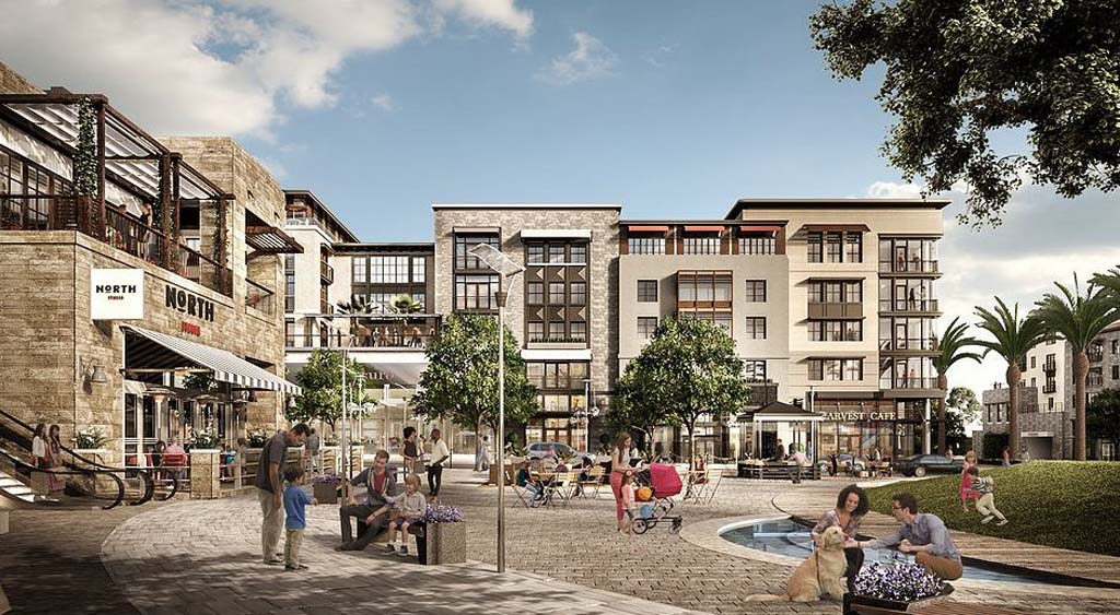 San Diego City Council recently rescinded it approval of One Paseo, a proposed mixed-use development in Carmel Valley. The project is being redesigned to reduce traffic and its bulk and scale. Courtesy rendering