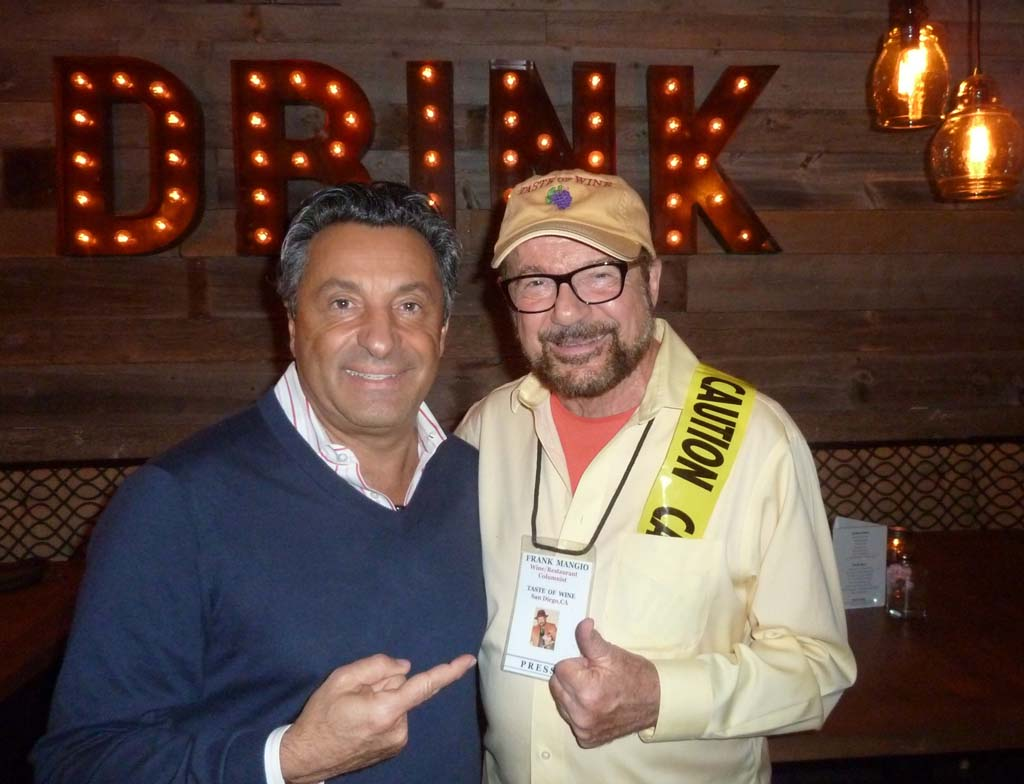 The new Seasalt Del Mar owner Salvatore Ercolano, left, with TASTE OF WINE columnist Frank Mangio as his most favored guest at the well-stocked Italian style wine bar. Photo courtesy Taste of Wine