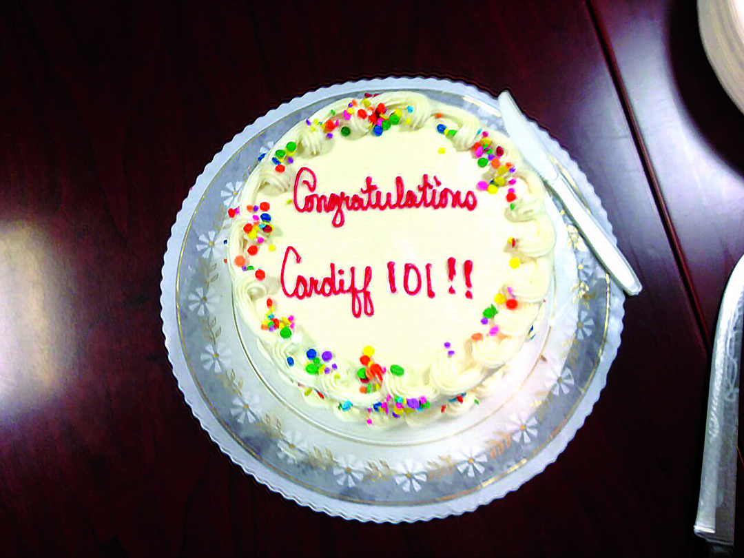A cake helps to celebrate The Cardiff 101 Main Street Association receiving state certification from the California Main Street Alliance on Wednesday. Photo by Aaron Burgin