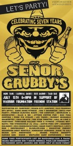 Senior Grubby's Carlsbad celebrating 7 years.  Promo flyer