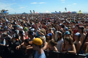 Crowds fill in the stage area to hear Switchfoot on Saturday. Photo by Tony Cagala