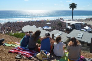 A group of friends find a high perch to enjoy the Switchfoot Bro-Am. Photo by Tony Cagala