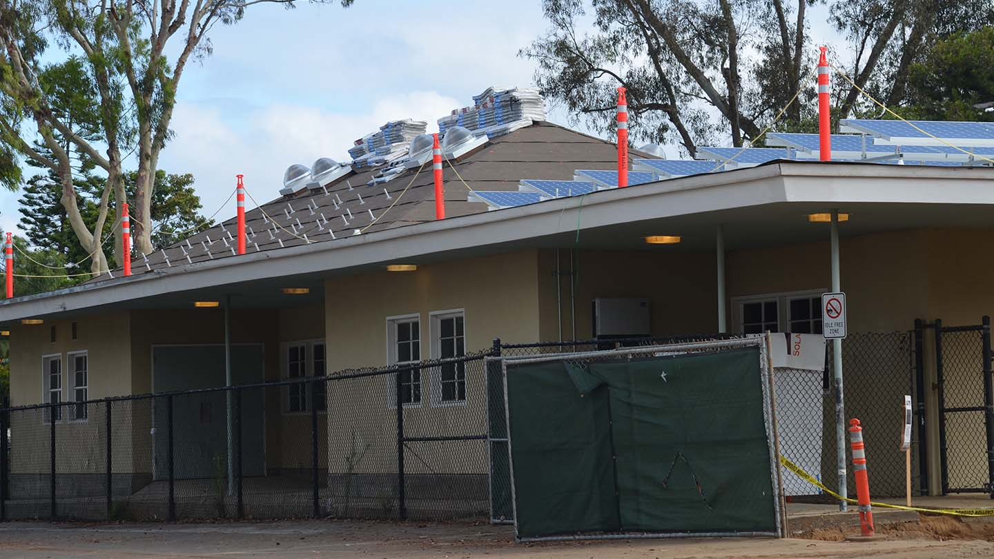 The Encinitas Union School District's installation of solar panels on it schools continues this summer at Paul Ecke Central Elementary. Photo by Tony Cagala