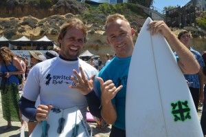 Damien Hobgood, left, and Chris Cote ready for their heat in the surf contest. Photo by Tony Cagala