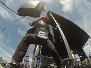 Jon Foreman performs with Switchfoot Saturday afternoon. Photo by Tony Cagala