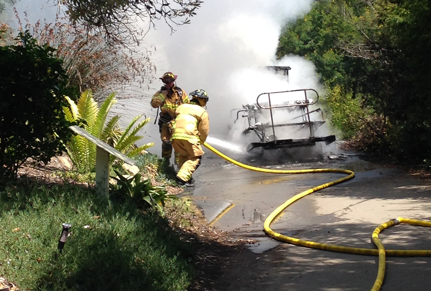 Encinitas fire crews extinguish a cart that caught on fire Wednesday morning at the San Diego Botanic Garden. Courtesy photo
