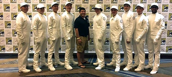"Nine Carlsbad High School drumline members were part of a 34-member ensemble that introduced ""The Hunger Games"" panel at Comic-Con last weekend. Courtesy photo"