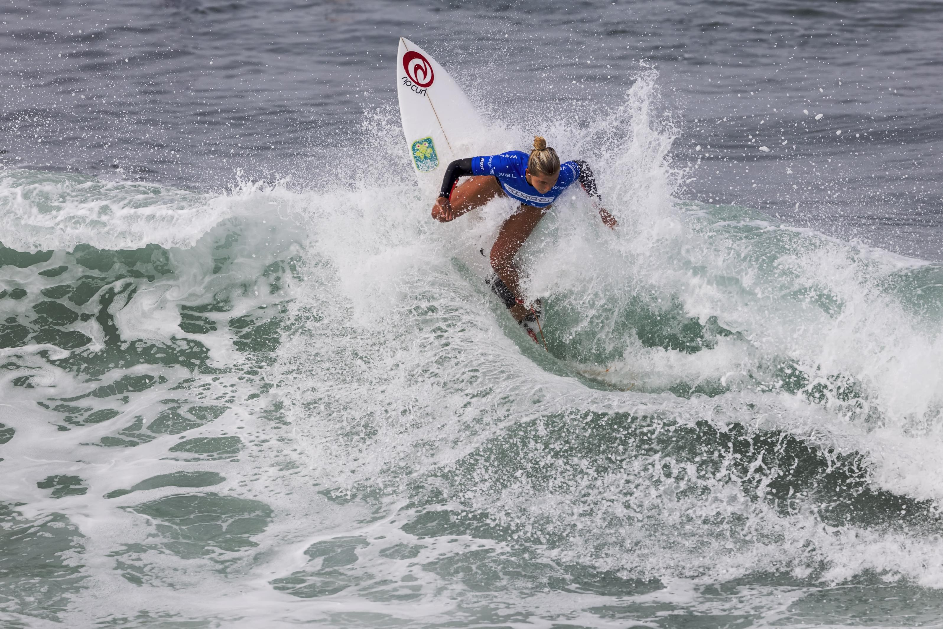 Leilani McGonagle surfs in Round 3, Heat 12 during the Paul Mitchell Supergirl Pro in Oceanside. Photo by Bill Reilly