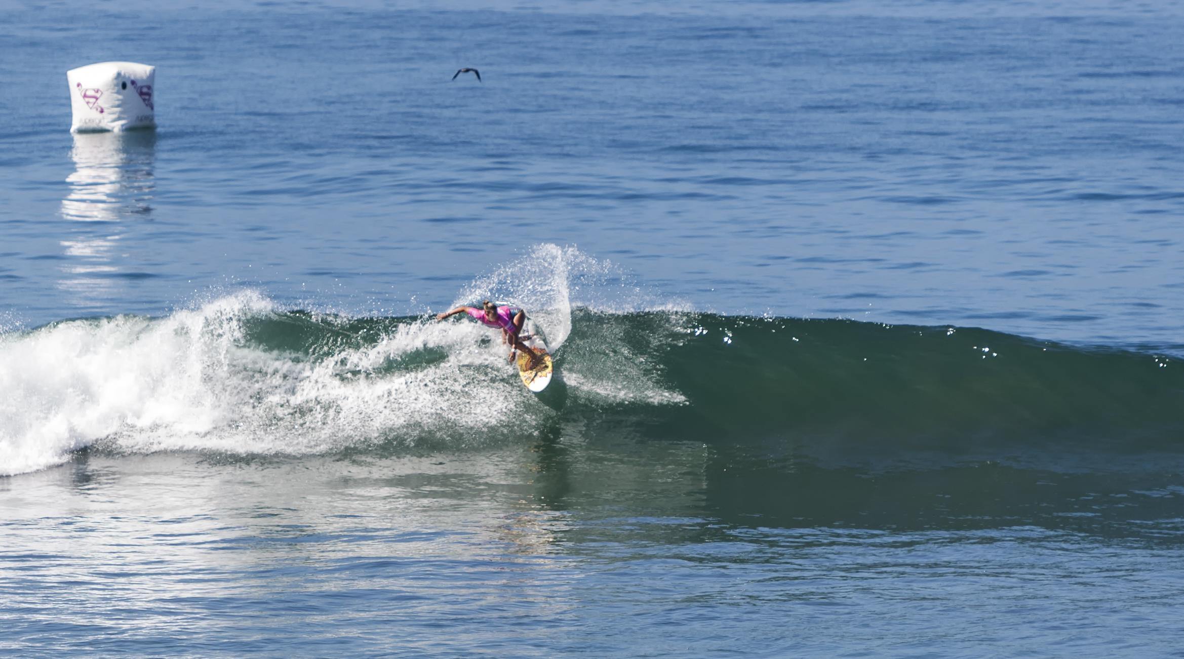 Defending champion Sage Erickson surfs during the Paul Mitchell Supergirl Pro on Saturday in Oceanside. Photo by Bill Reilly