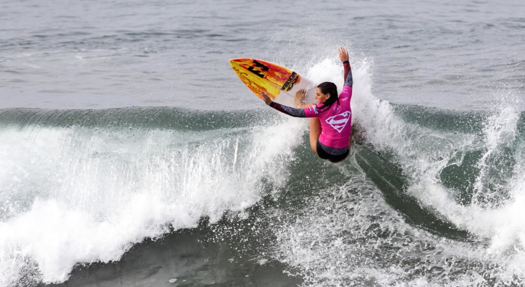 Stephanie Single of Australia surfs in Round 3, Heat 12 during the Paul Mitchell Supergirl Pro in Oceanside. Photo by Bill Reilly