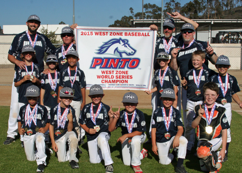 The San Marcos 8U South Knights All-Star team defeats the Tecolote All-Stars on July 28 to capture the Pinto Machine Pitch West Zone World Series for its age group, its second consecutive title. Courtesy photo