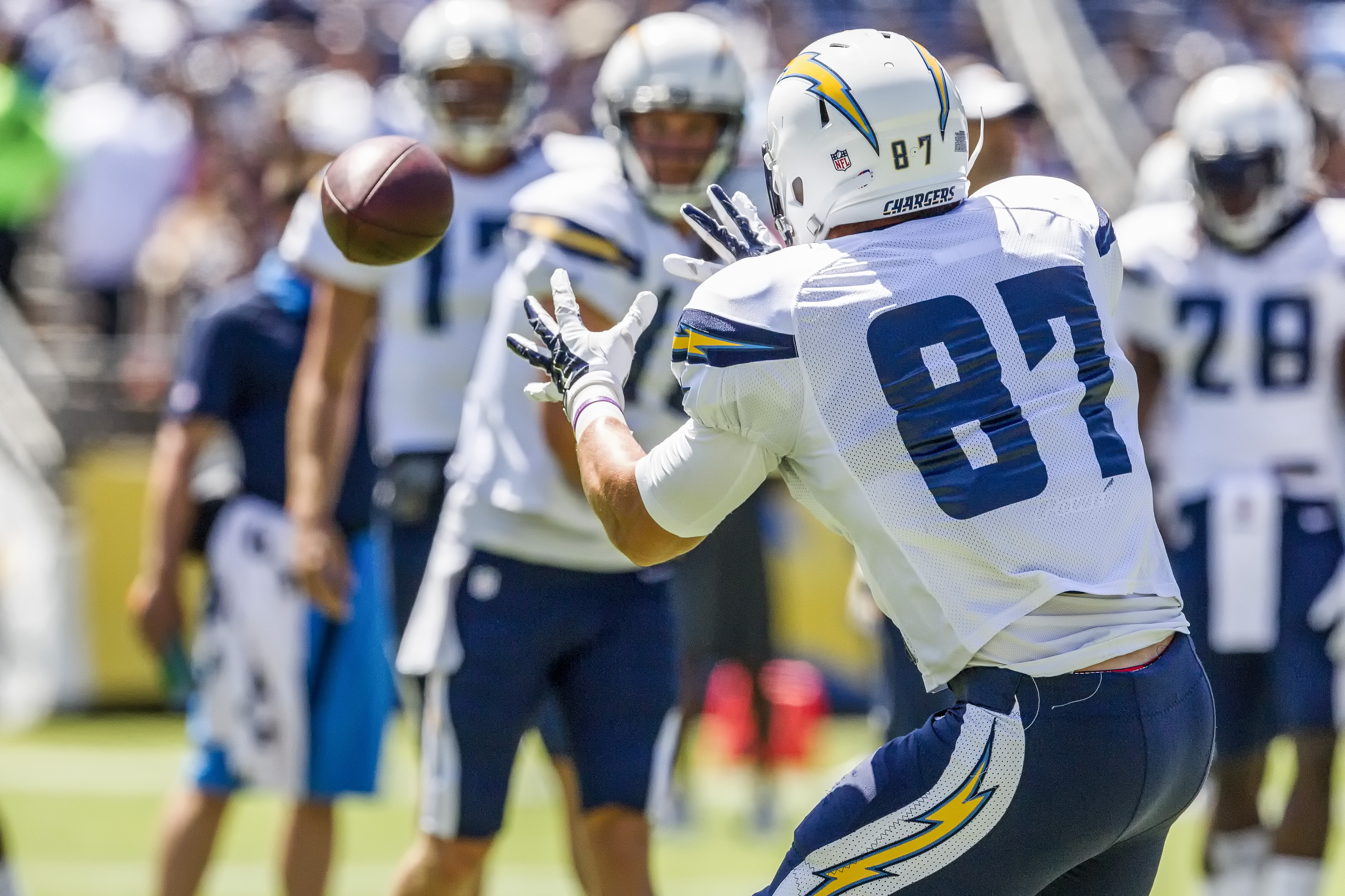 San Diego Chargers rookie tight end Brian Parker [87] catches a Philip Rivers pass during Fan Fest 2015. Photo by Bill Reilly